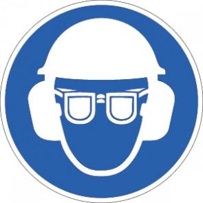 Helm, Sicht- und Gehörschutz tragen